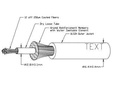 12-os skaidulų OM4 vidinis/išorinis kabelis, Dca