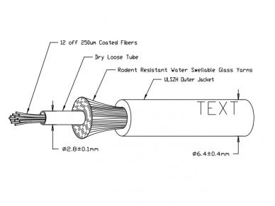 12-os skaidulų vienmodis vidinis/išorinis kabelis, Dca