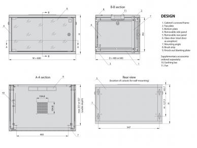 15U spinta su stiklo durimis 712x600x400 (AxPxG)mm 4