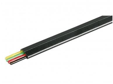 4-ių gyslų plokščias telefoninis kabelis, juodas Wentronic