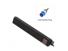 Lindy 6 Way UK Mains Sockets. Vertical PDU with Commando Plug
