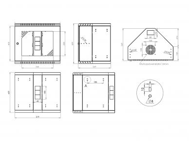 """9U kampinė spinta su stiklo durimis 19"""", 460x520x370 10"""