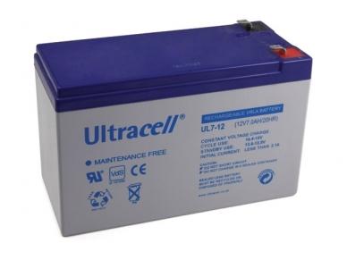 Akumuliatorius 12V 7Ah, Ultracell (Švino rugšties)