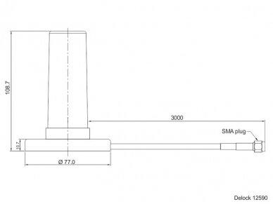 Antena 5G LTE SMA kištukas 0-3dBi, RF195 3m išorinė magn. 4