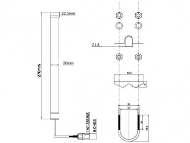 Antena LTE SMA kištukas 0.3m 2-6.5dBi išorinė 2