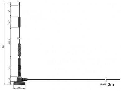 Antena LTE SMA kištukas 3m RG58 5dBi, išorinė, magn 2