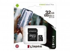 Atminties kortelė Kingston microSDHC 32GB CL10 + adapt.