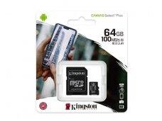 Atminties kortelė Kingston microSDHC 64GB CL10 + adapt.