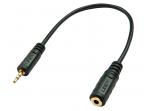 Audio kabelis 2.5mm M - 3.5mm F 0.2m