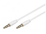 Audio kabelis 3.5mm - 3.5mm 1.5m baltas, mini