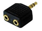 Audio perėjimas 3.5mm stereo M - 2x3.5mm stereo F