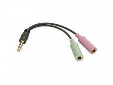 Audio 3.5mm 4 kontaktų M - 2x3.5mm F perėjimas