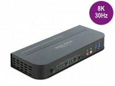 DisplayPort 1.4 KVM perjungėjas 2>1, USB3.0, 8K 30Hz, audio