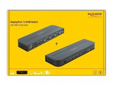 DisplayPort 1.4 KVM perjungėjas 4>1, USB3.0, 8K 30Hz, audio 3