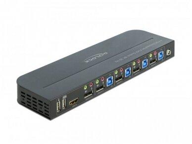 DisplayPort 1.4 KVM perjungėjas 4>1, USB3.0, 8K 30Hz, audio 2