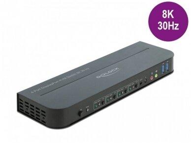 DisplayPort 1.4 KVM perjungėjas 4>1, USB3.0, 8K 30Hz, audio