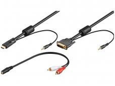 DVI-D + 3.5mm audio į HDMI + 3.5mm audio 2m 1080p
