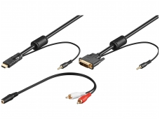 DVI-D + 3.5mm audio į HDMI + 3.5mm audio 3m 1080p