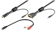 DVI-D + 3.5mm audio į HDMI + 3.5mm audio 5m 1080p