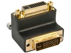 DVI kampinis perėjimas DVI-I M - DVI-I F, kabelis į viršų