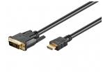 HDMI - DVI-D kabelis 3m 1080p, paauksuoti kontaktai