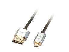 HDMI 2.0 cat2 4K - micro HDMI kabelis 1m, Slim, CROMO