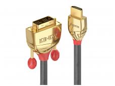 HDMI į DVI-D kabelis 5m, 1920x1200, GOLD Line