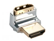 HDMI M - HDMI F kampinis perėjimas, kabelis į viršų, CROMO