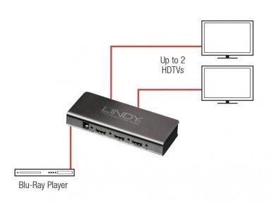 HDMI 2.0 18G šakotuvas 1>2 4K 60Hz 3