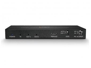 HDMI 2.0 18G šakotuvas 1>2 4K 60Hz su audio 2