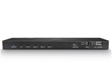 HDMI 2.0 18G šakotuvas 1>4 4K 60Hz su audio 2