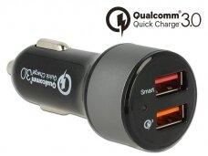Įtampos keitiklis 12-24V/5V USB 1x2.4A 1x QC3.0