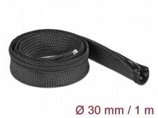 Kabelių apsauga 30mm 1m su užtrauktuku, juodos spalv.