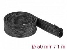 Kabelių apsauga 50mm 1m su užtrauktuku, juodos spalv.