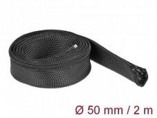 Kabelių apsauga 50mm 2m su užtrauktuku, juodos spalv.