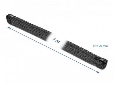 Kabelių apsauga 20mm 1m su užtrauktuku, juodos spalv. 2