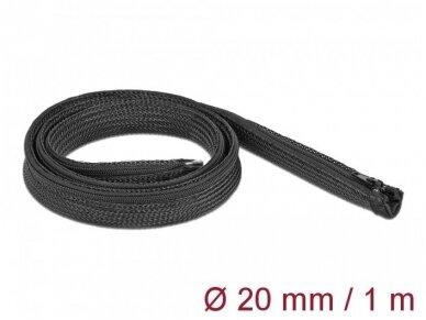 Kabelių apsauga 20mm 1m su užtrauktuku, juodos spalv.