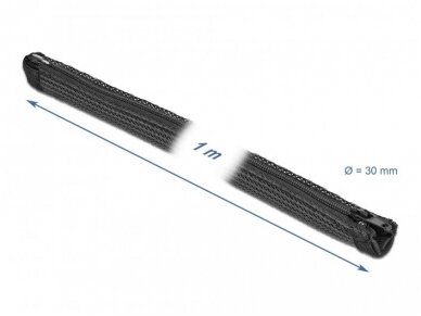 Kabelių apsauga 30mm 1m su užtrauktuku, juodos spalv. 2
