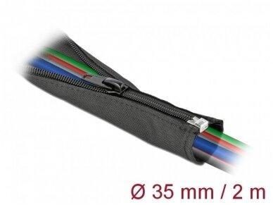 Kabelių apsauga 35mm 2m su užtrauktuku, juoda