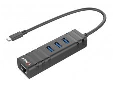 Keitiklis USB-C į 3xUSB 3.0 ir Gigabit Ethernet