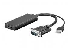 Keitiklis VGA+audio į HDMI 1080p juodas