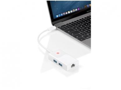 Keitiklis USB-C į 2xUSB 3.0 ir LAN 10/100/1000 2