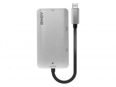 Keitiklis USB-C į HDMI 4K, DVI, VGA 2