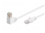 Komutacinis kabelis 1m UTP Cat5E, baltas kampinis-tiesus
