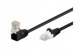 Komutacinis kabelis 1m UTP Cat5E, juodas kampinis-tiesus