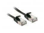 Komutacinis kabelis 3m U/FTP Cat6A, plokščias, juodas
