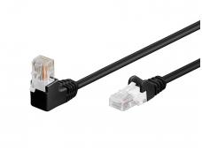 Komutacinis kabelis 0,25m UTP Cat5E, juodas kampinis-tiesus