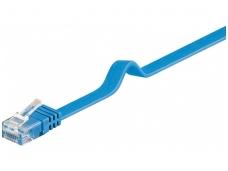 Komutacinis kabelis 10m UTP Cat6 plokščias, mėlynas CU