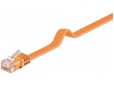 Komutacinis kabelis 15m UTP Cat6 plokščias, oranžinis CU