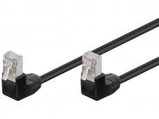Komutacinis kabelis 2m F/UTP Cat5E, juodas kampinis